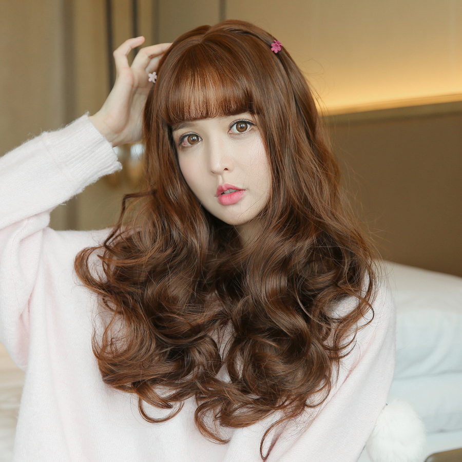 Usd 37 07 Wig Female Long Curly Hair Big Wave Long Hair Round Face