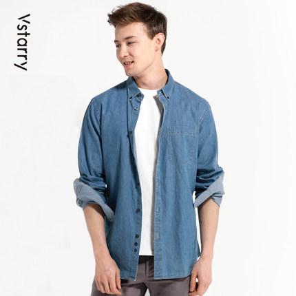 新春牛仔衬衫外套男长袖宽松日系复古韩版休闲纯棉工装寸衬衣纯色