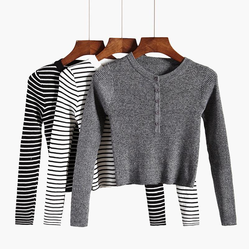 冬季修身长袖T恤超短款紧身针织衫打底衫上衣高腰露脐内搭毛衣女
