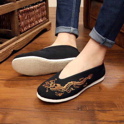 Beijing cloth shoes Kung Fu shoes men's Chinese style breathable casual shoes handmade layered shoes round shoes