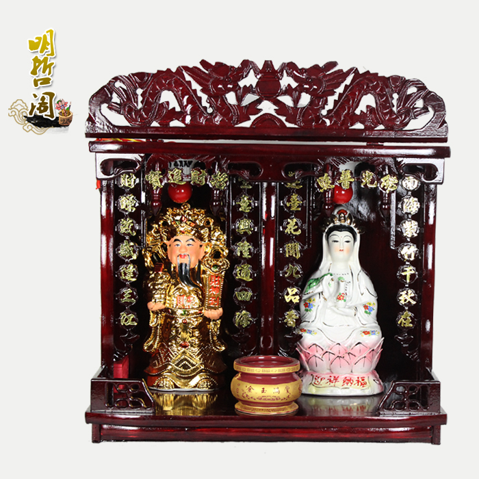 USD 144.77] God of wealth Goddess of mercy two niches Buddha ...