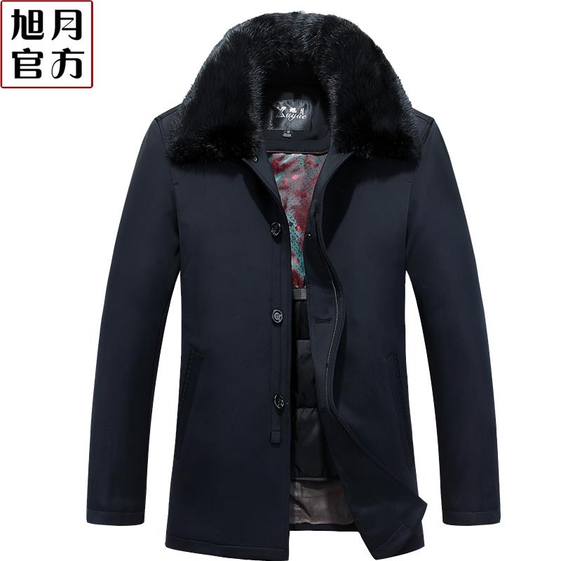 雅鹿羽绒服男新款中老年爸爸装中长款加厚冬装老人加大码黑色外套