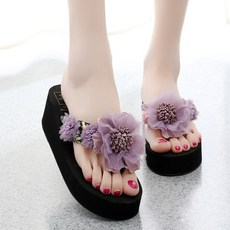 New ethnic style flower beach slippers female summer seaside non-slip thick bottom flip-flops wear fashion wedge sandals