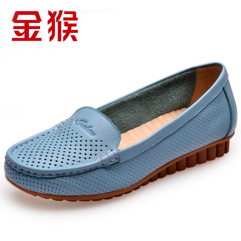 金猴女凉鞋时尚春夏季新款真皮头层牛皮套脚舒适透气妈妈鞋子