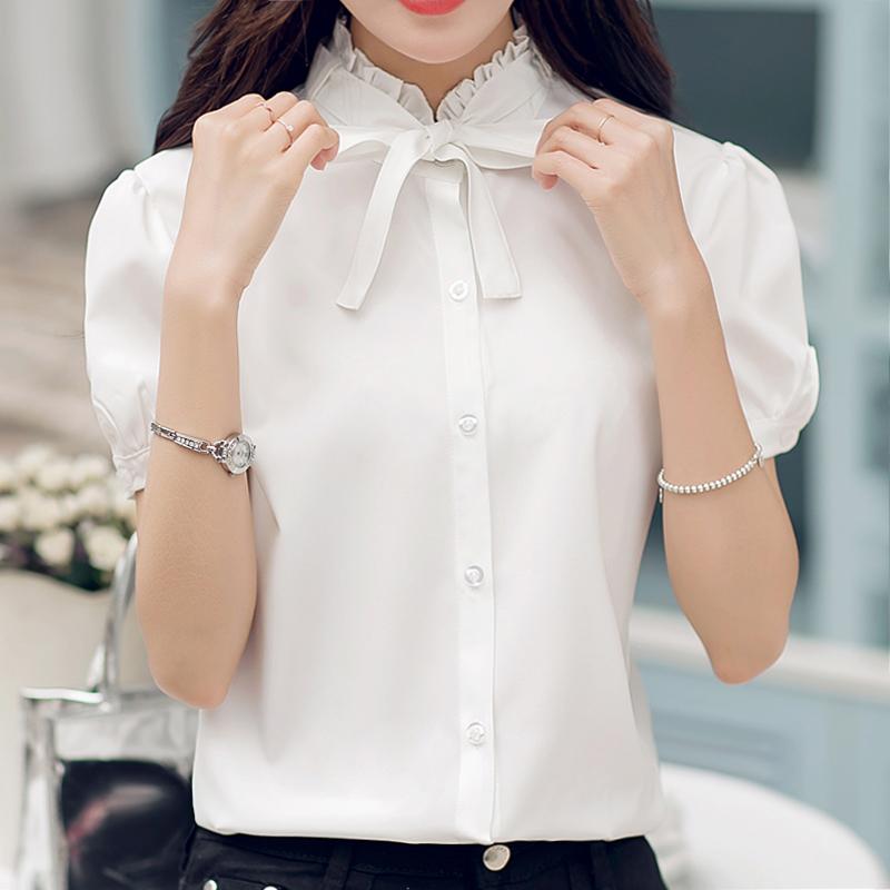 韩版2017新款单排扣纯色V领一字肩女装上衣百搭显瘦学生短袖衬衫