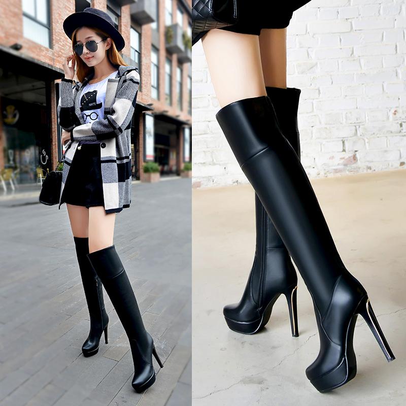 秋冬新款高跟长靴细跟长筒靴防水台真皮过膝长靴瘦腿女靴子磨砂皮