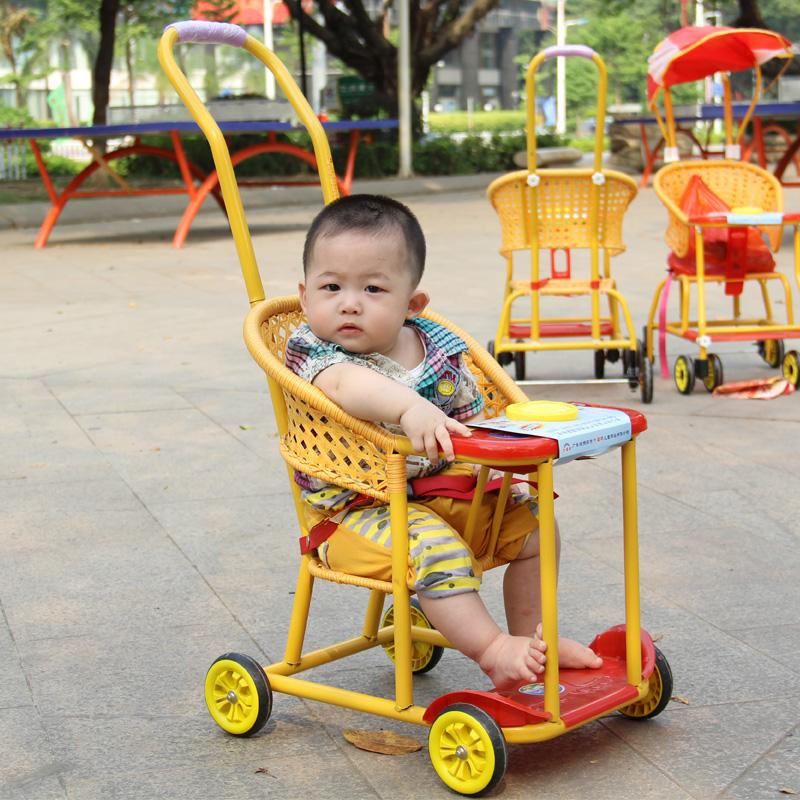 外婆桥 新款 轻便仿藤婴儿推车 儿童推车 四轮宝宝推车 仿藤童车