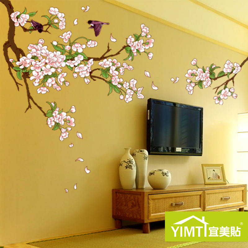 USD 17.39] Cherry blossom Wall Sticker tree TV Wall Stickers living ...