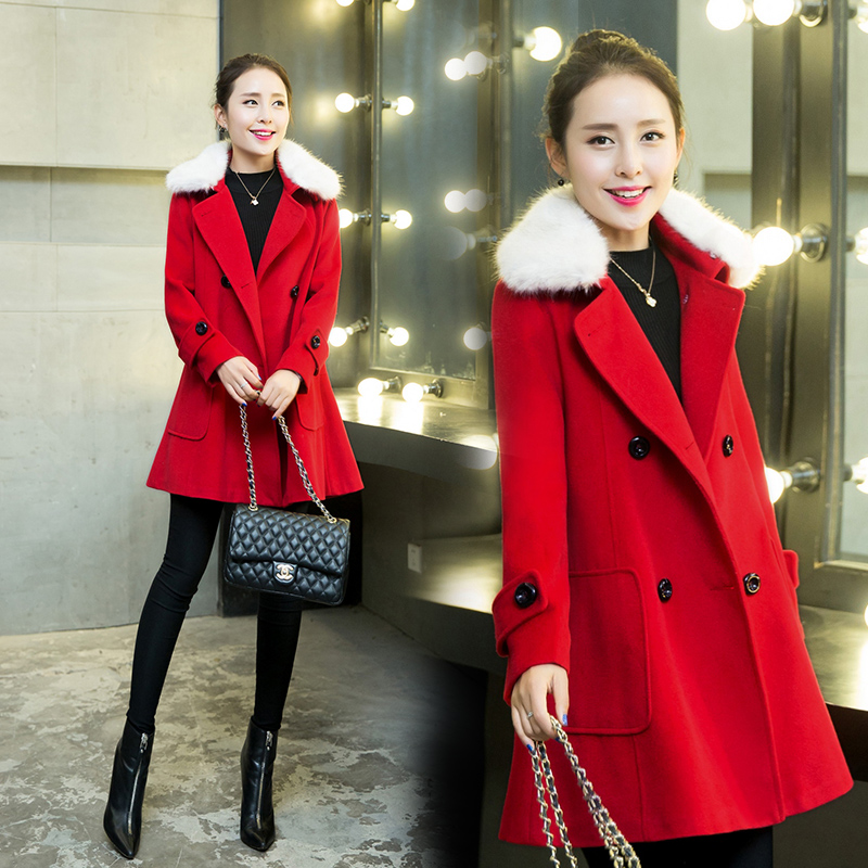 2015秋冬装 新款修身韩版中长款呢子大衣带毛领A版呢外套女装