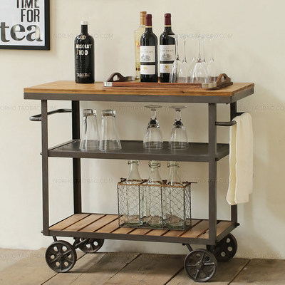 American Iron Solid Wood Retro Dining Car Rotor Trolley Dish Collection Car KTV Wine Water Side Cabinet