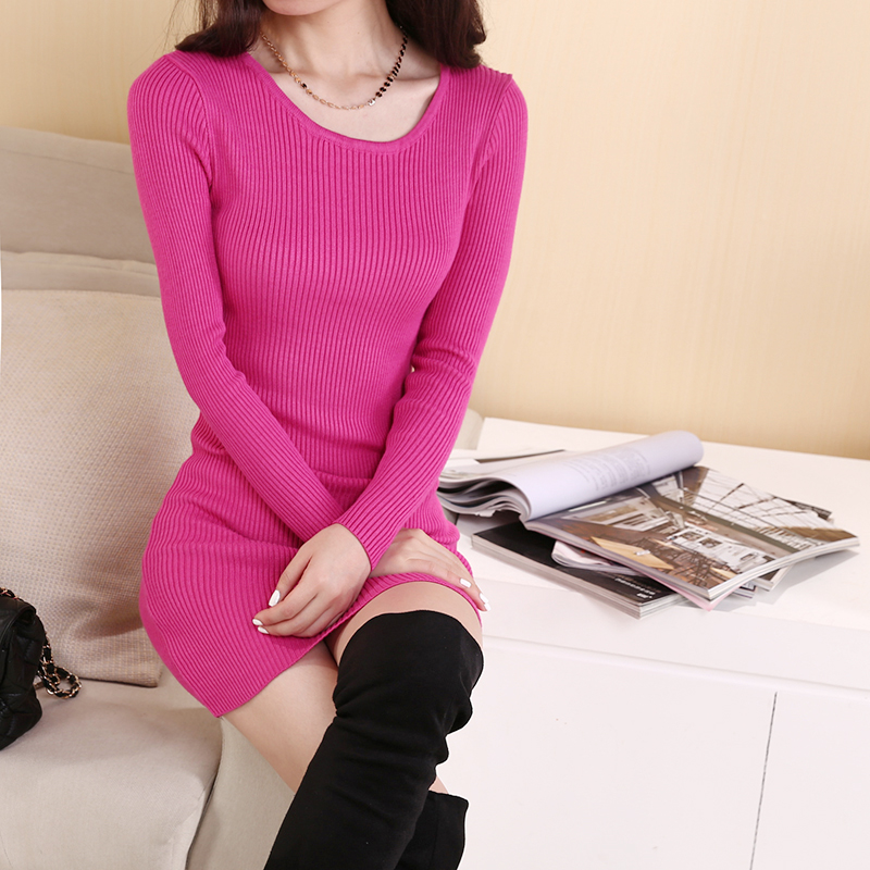 新款韩版中长款V领毛衣女秋冬打底衫长袖套头修身显瘦针织连衣裙