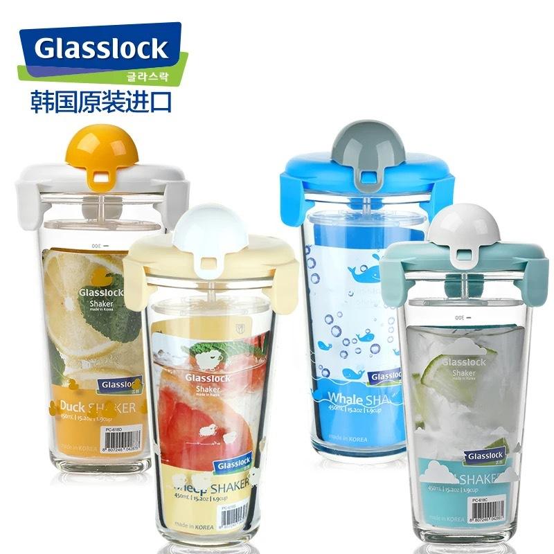 韩国Glasslock带盖便携玻璃杯乐扣大容量防漏耐热刻度水杯