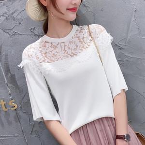 实拍2019韩版?#21512;?#23395;新款女装针织衫雪纺蕾丝拼接短袖