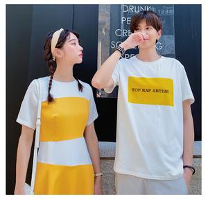 亚博国际在线娱乐官网线路检测现货情侣装设计小众连衣裙2019新款夏装短袖T恤套装