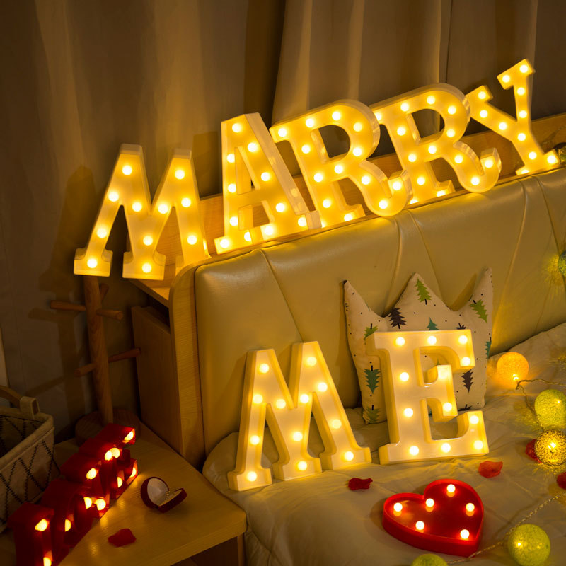INS26 English letter light LED symbol modeling light Wedding night light Birthday proposal light