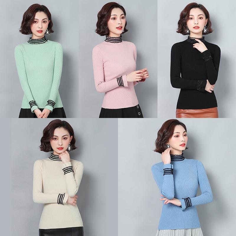 實拍2019秋裝新款女毛衣套頭短款蕾絲花邊針織衫甜美長袖打底衫