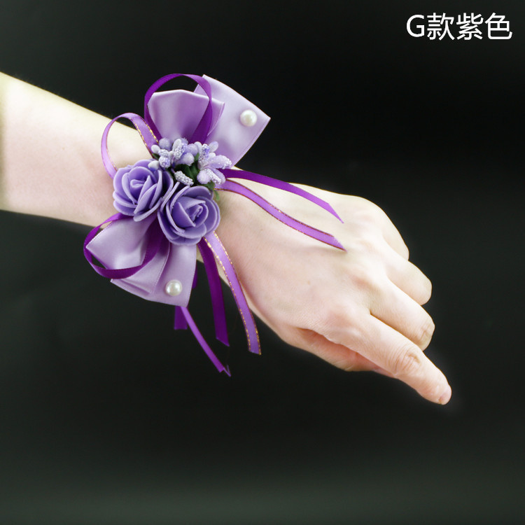 Wedding supplies Bridal wrist flower Korean wedding simulation cloth corsage bridesmaid sister hand flower G