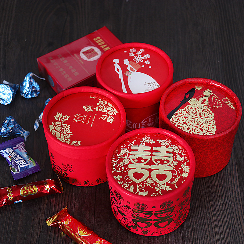 Creative cylinder Chinese style candy gift box Wedding supplies bronzing gift box Wedding festive supplies Return gift box