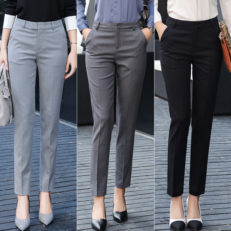 2021 summer black high waist thin professional wild straight loose drooping trousers thin spring and autumn suit pants women
