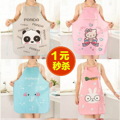 Korean version of fashion waterproof apron adult anti-fouling half body womens hood cartoon cute oil-proof sleeveless apron