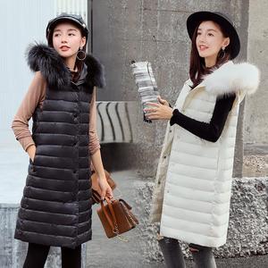 實拍早冬薄款羽絨服時尚羽絨馬甲流行中長款真毛領羽絨服女