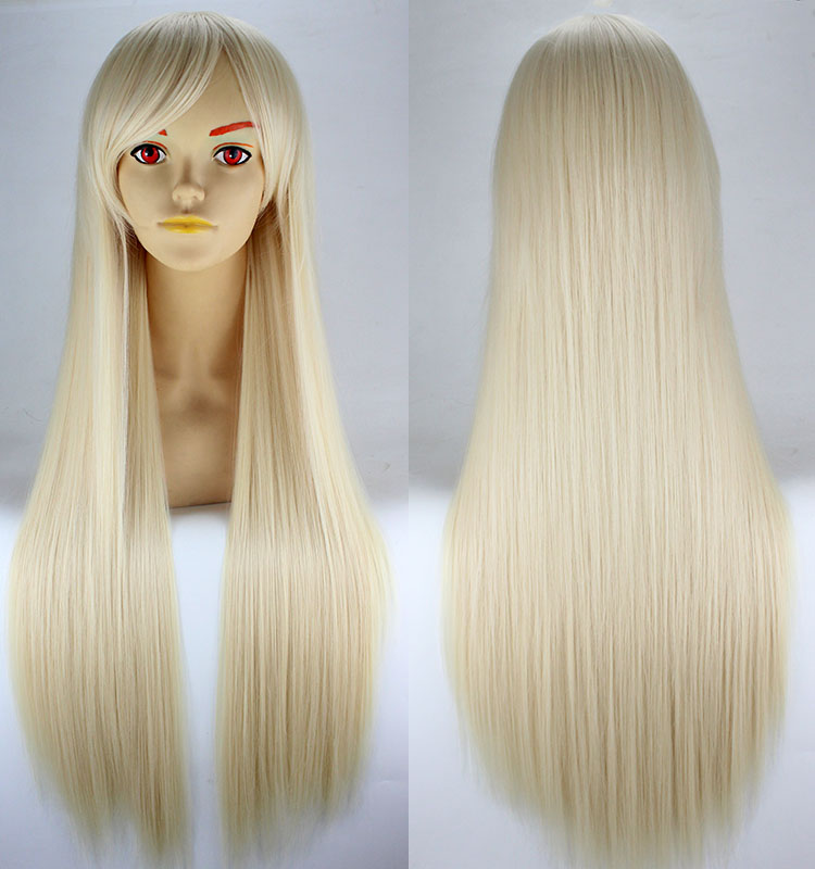 TaobaoRing cosplay anime wigs universal 80cm long straight hair black and white red purple yellow color stage wig - Taobao
