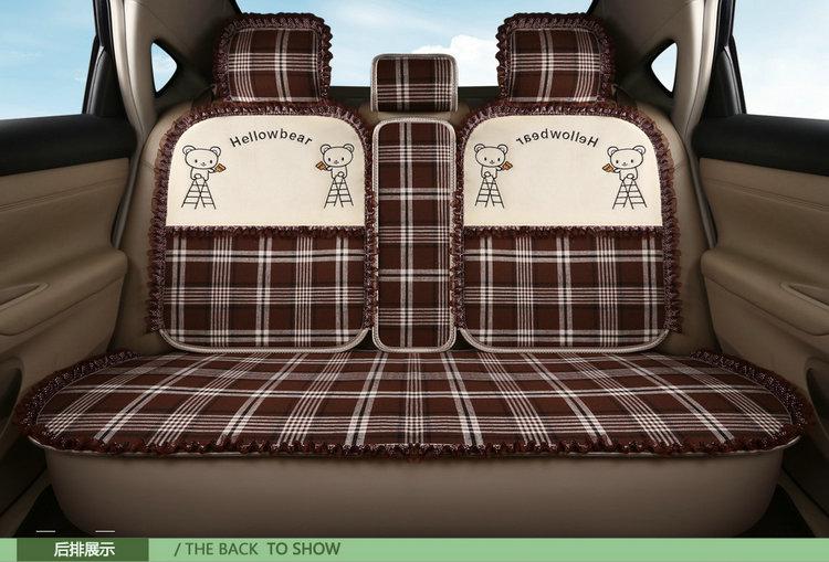 卡通汽车坐垫可爱麻布座垫四季通用冰丝全包座套女神春夏季专用详细照片
