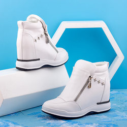 High-top inner increase 8cm slope with white shoes 2020 spring and autumn women's shoes new thick-soled high-bang casual shoes women
