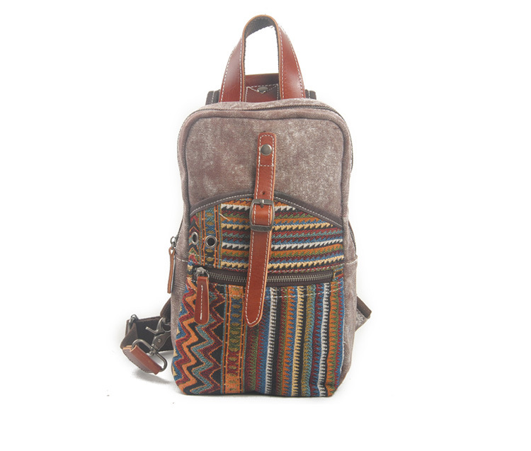 Tide bag Canvas National Wind Chest Bag