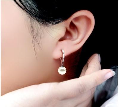 白色珍珠日 防过敏时尚OL气质925纯银饰品耳扣耳坠女耳环耳圈