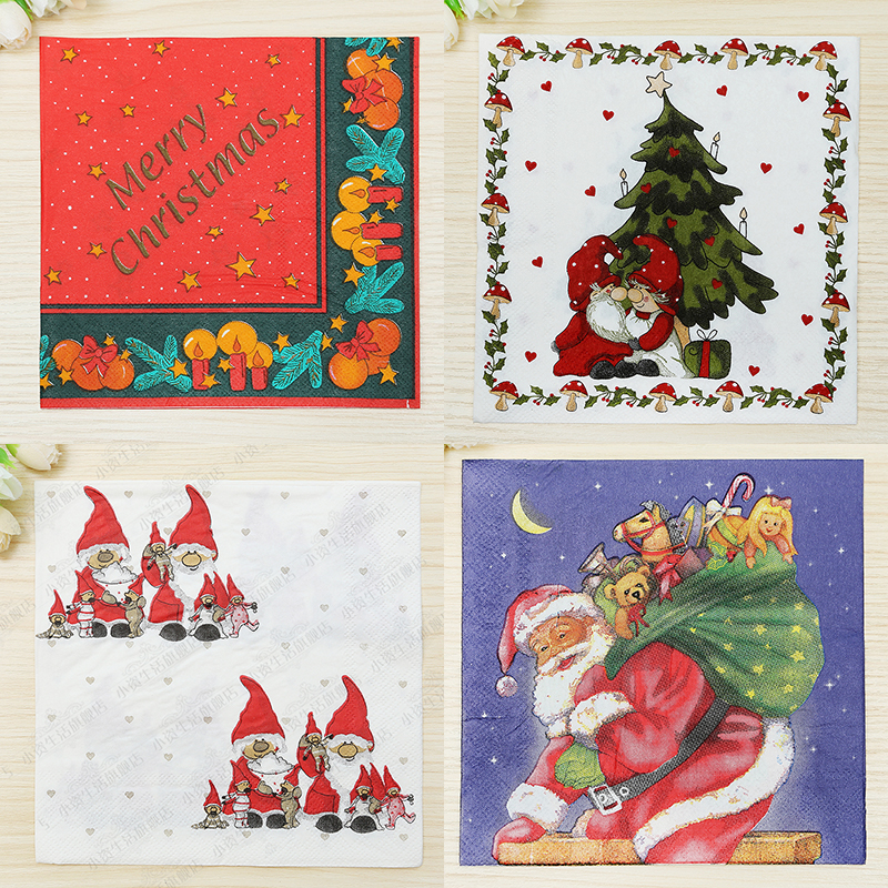 christmas party supplies printing tissue paper color napkin christmas decorations