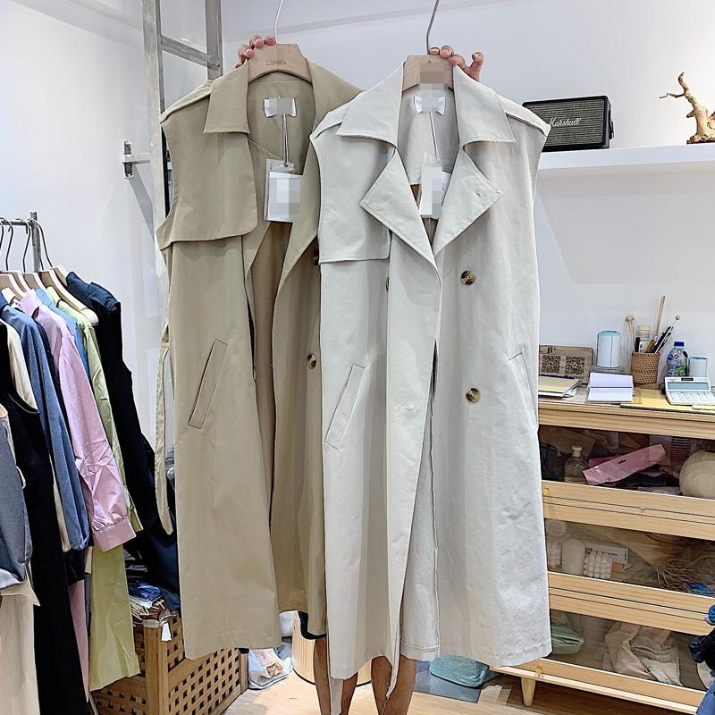 早秋新款女装韩版气质时尚休闲宽松版百搭显瘦中长款风衣马甲外套
