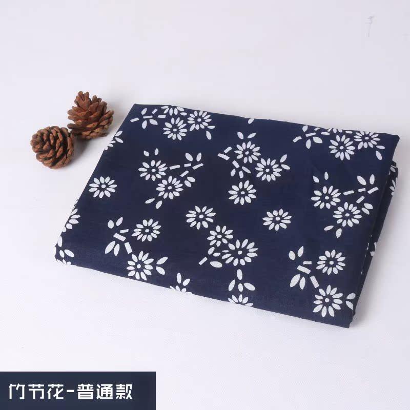 蓝印花布料中国民族风手工青花窗帘桌布纯棉仿蜡染布加厚装饰面料