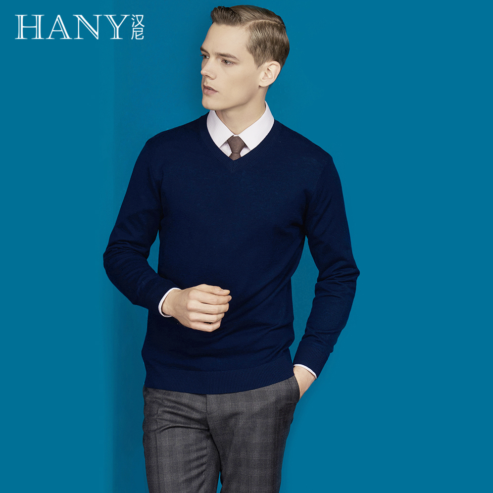 USD 395.00] HANY winter sweater collar deep blue sweater warm self ...
