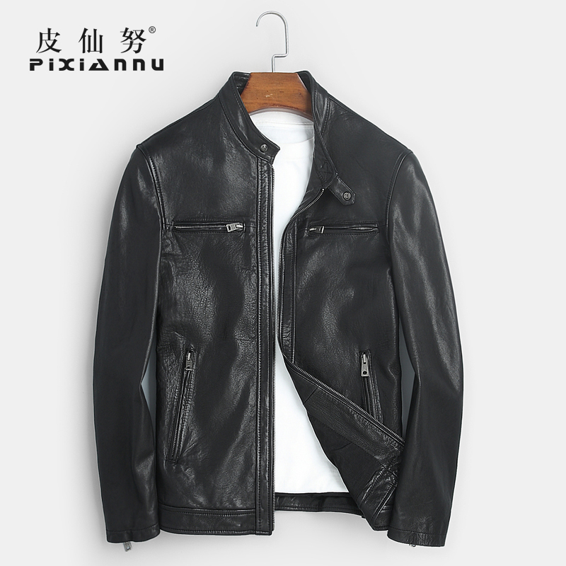 Haining tide men's new leather sheep skin leather collar handsome little short paragraph machine wagon jacket autumn