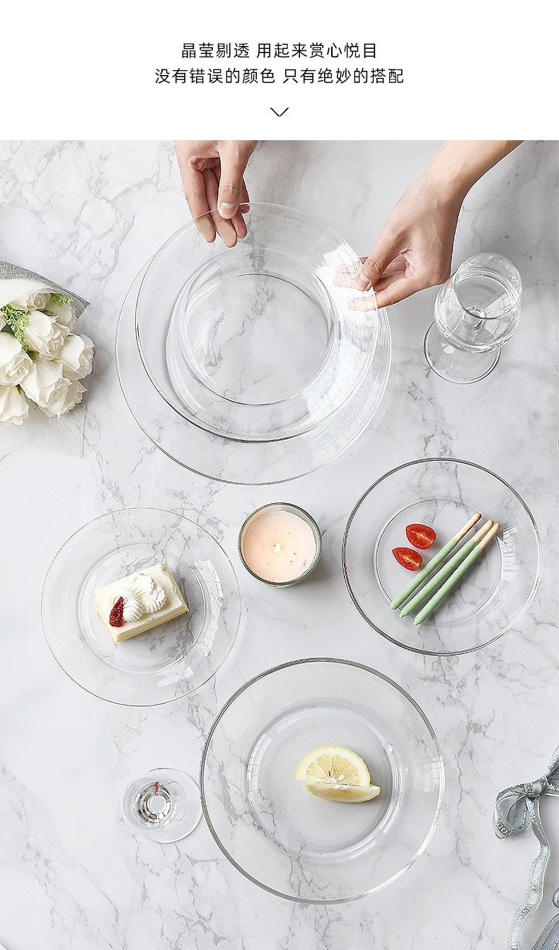 可微波炉钢化透明玻璃水果沙拉盘子餐具耐热北欧创意碟子盘子家用详细照片