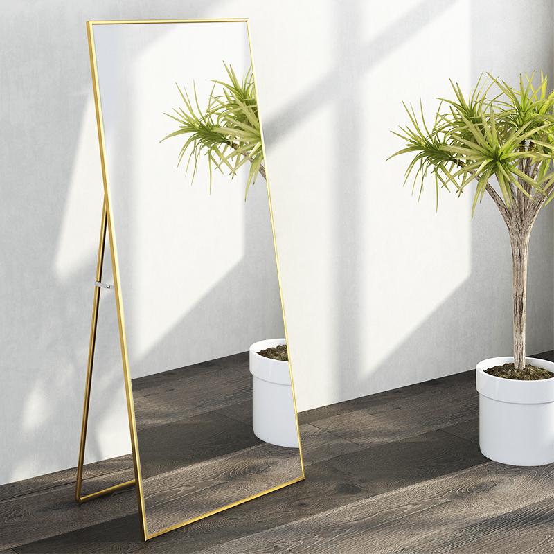 落地镜子全身镜穿衣镜网红挂墙壁挂镜子服装店大镜子试衣镜铝合金