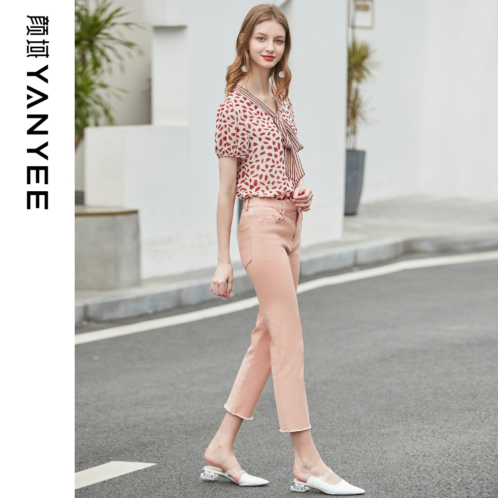 Yen domain women's bow short-sleeved chiffon shirt shirt summer 2019 New loose wave point small floral shirt female