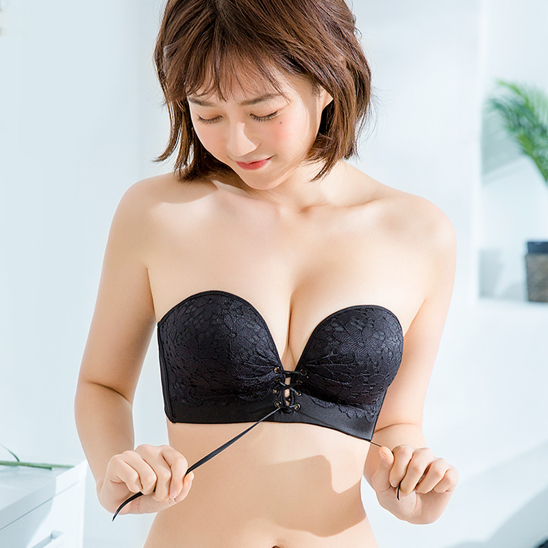 45cf855f4e90b Strapless underwear gathered non-slip upper support thickening invisible  bra stickers women s dress wedding dress wrapped chest chest small chest