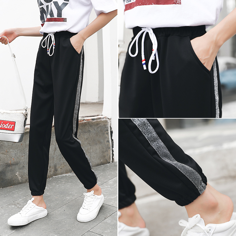 Black [silver Side] Regular Single Pants