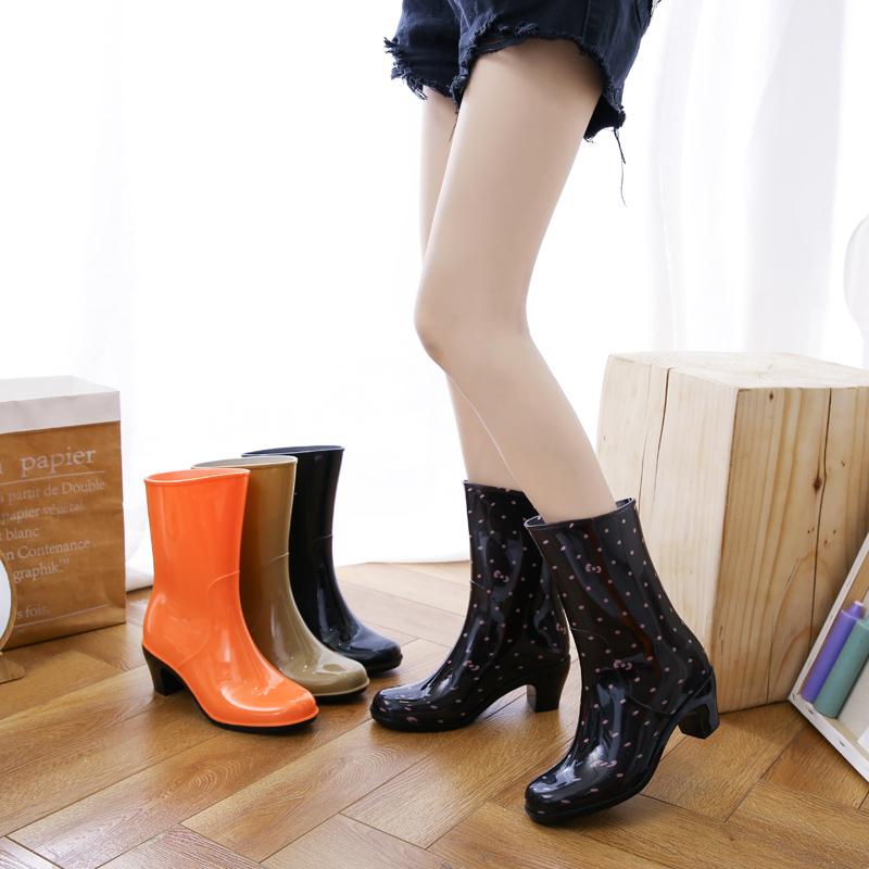 春秋雨鞋女套鞋胶鞋防滑鞋女防水雨靴中筒水靴时尚加绒a雨鞋高跟女