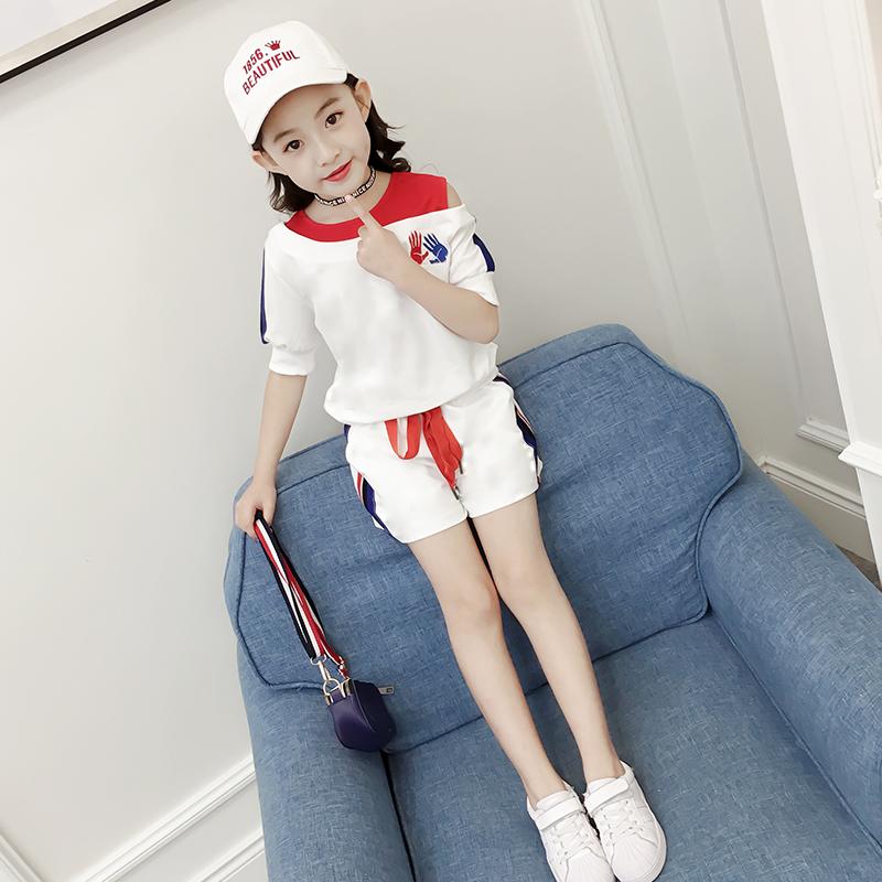 女童夏装2018新款夏季时髦套装韩版时尚t恤中大童洋气短裤两件套