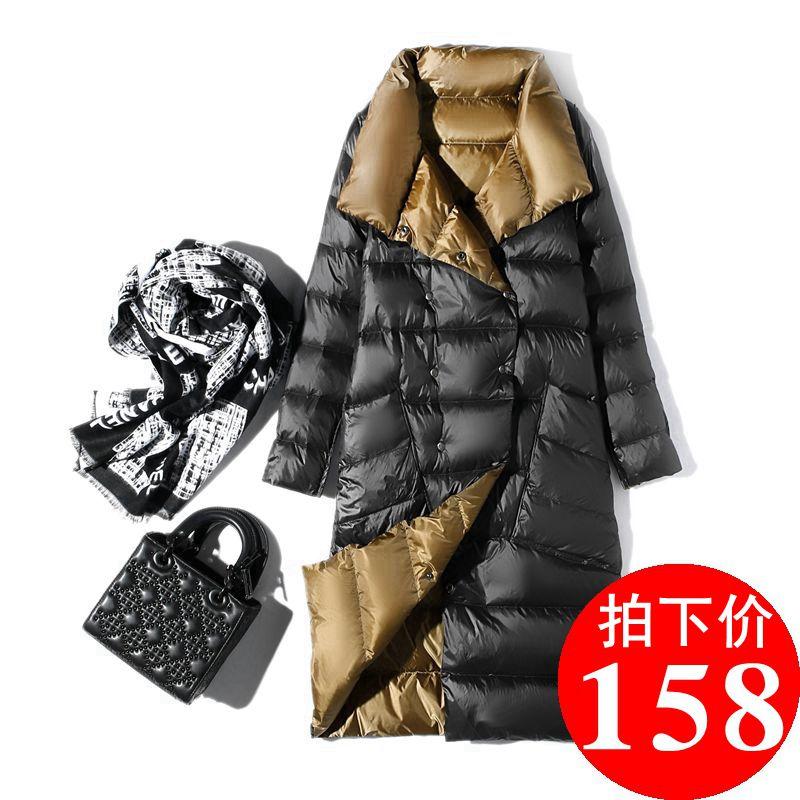 反季清仓2019新款韩版双面穿两面穿轻薄薄款羽绒服女中长款爆款