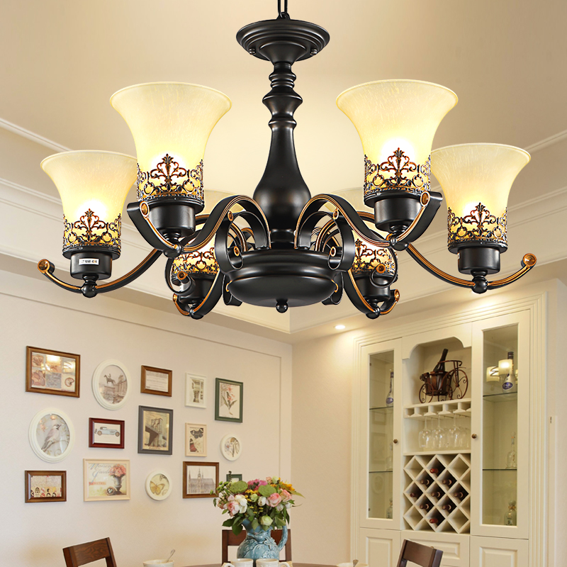 美式田园客厅灯灯具铁艺楼大吊灯简约吊灯复式乡村包安装欧式餐厅