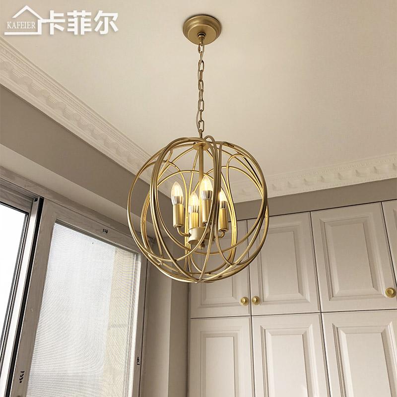 美式乡村吊灯餐厅金色创意门厅卧室铁艺入户阳台灯具玄关小吊灯