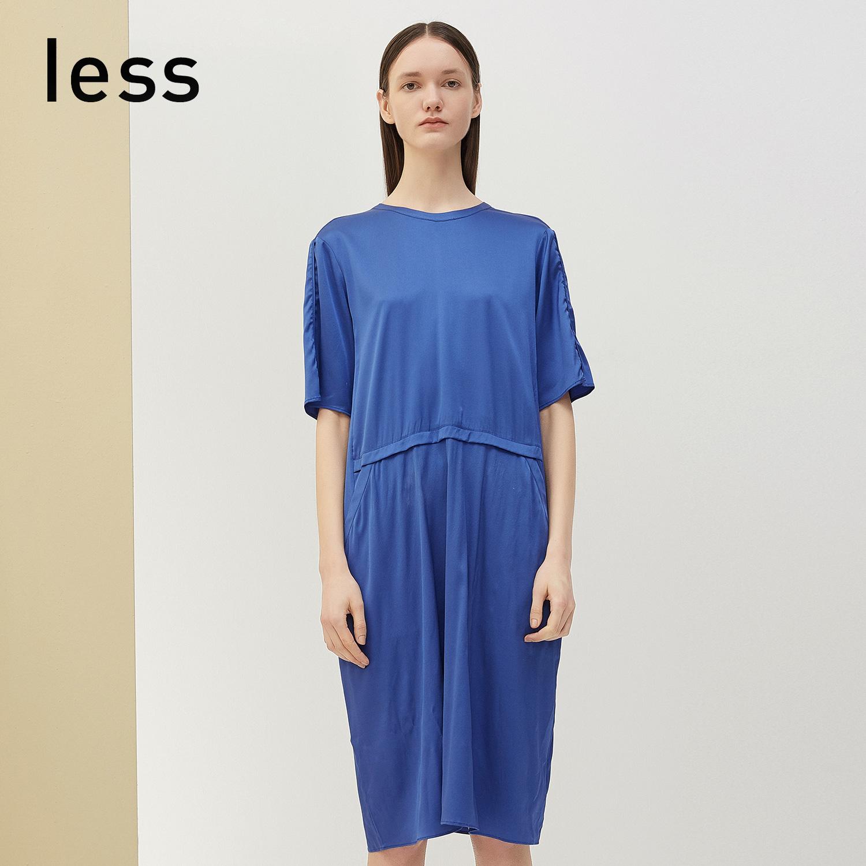 less2018夏裝新款中袖拼接包容性強顯膚色桑蠶絲連衣裙27350021