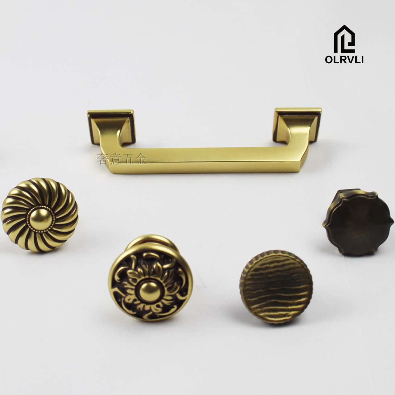 意大利OLRVLI厨房拉手黄铜简约锤纹拉手把手金色黑色古铜色门把