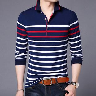 乔诺恩男士长袖T恤衬衫条纹打底衫
