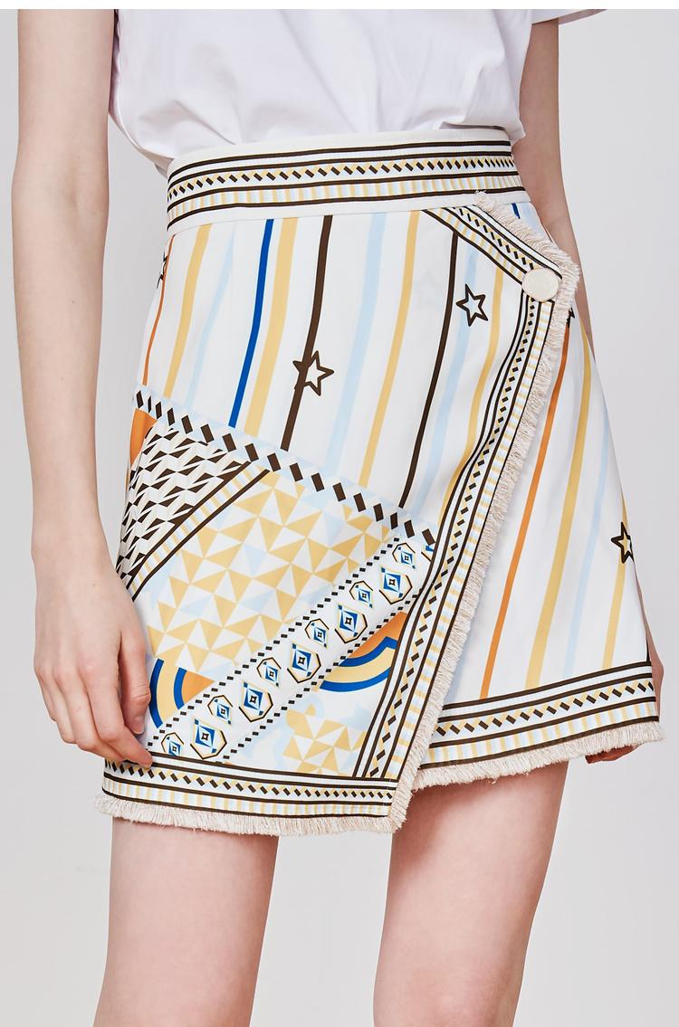 Lily2019夏新款女装流苏A字短裙半身裙