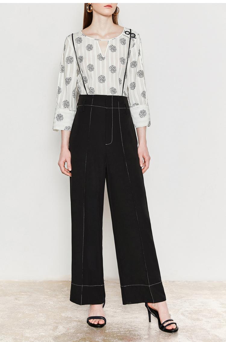 Lily2019夏新款女装可脱卸带,撞色辑线,阔腿裤长裤